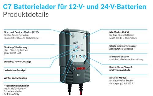 41ILiLHfn%2BL Bosch C7 - intelligentes und automatisches Batterieladegerät - 12V-24V / 7A - für Blei-Säure, GEL, Start/Stopp EFB…