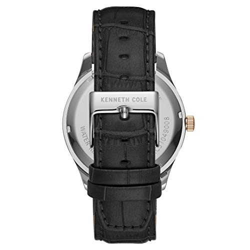 Kenneth Cole New York Men's Classic Japanese Quartz Watch with Leather Strap, Black, 22 (Model: KC51049003)
