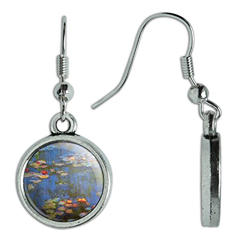 Monet Dangling Earrings (Novelty Dangling Drop Charm Earrings Art Paintings - Water Lilies Claude Monet)