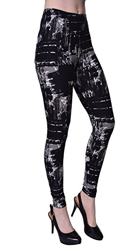 VIV Collection Printed Brushed Leggings (Urban Goth)