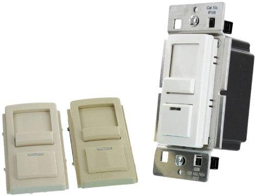 Leviton IPI06-1FZ Single Pole and 3 Way, 600W, 120VAC, Incandescent, IllumaTech Slide Dimmer, White/Ivory/Light Almond