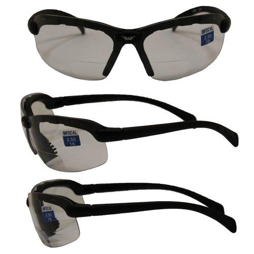 Global Vision Eyewear C-2 Bifocal 2.5 Lens Magnification Safety Glasses, Clear Lens, Gloss Black Frame ()