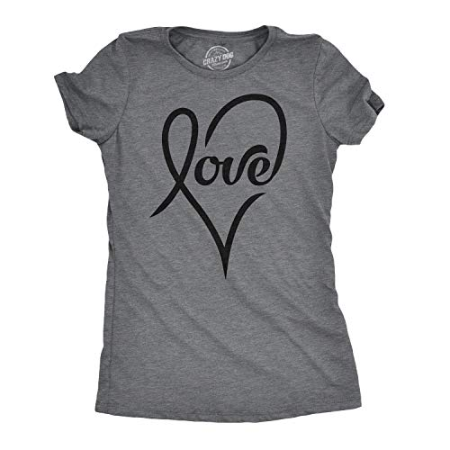 Womens Love Cursive Heart Design Cute Stylish T Shirt (Dark Heather Grey) - - T-shirt Cut Womens Heart