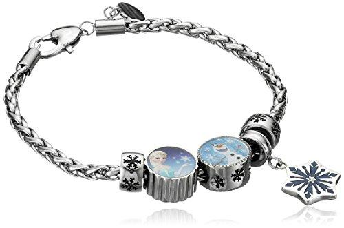 Disney Frozen Stainless Steel Elsa, Olaf and Snowflake Bundle Charm Bracelet