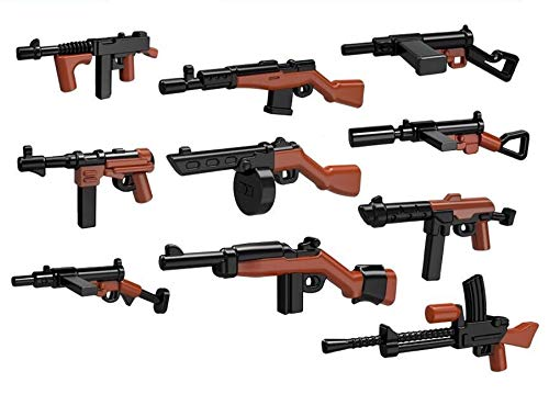 HayStoreUS 10 Custom WW2 Machine Rifle - Military - Swat - Police Toy Weapons / Guns Set for Lego Minifigures! Building Blocks Accessories - 100% Compatible with Most Minifigures! (Best Weapons Of Ww2)