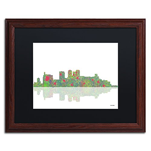 "picture of Trademark Fine Art Birmingham Alabama Skyline by Marlene Watson Artwork, 16 by 20"", Black Matte/Wood Frame"