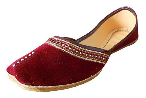 KALRA Creations Traditionelle Samt der Frauen indischen Hochzeit Schuhe Kastanienbraun