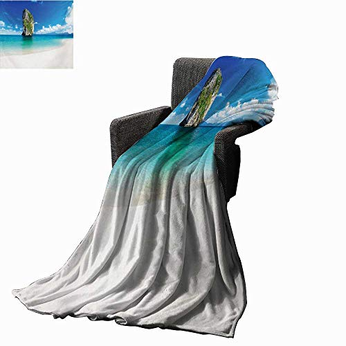 lanket Big Tall Poda Cliff Rock in The Sea in Asian Coastline Exotic Vacation Scene,Super Soft and Comfortable,Suitable for Sofas,Chairs,beds ()