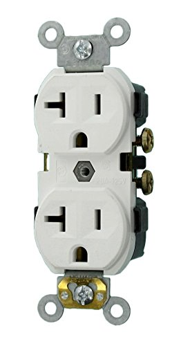 Leviton CR20-W 20-Amp, 125-Volt, Narrow Body Duplex Receptacle, Straight Blade, Commercial Grade, Self Grounding, 10-Pack, White, - Commercial Outlet