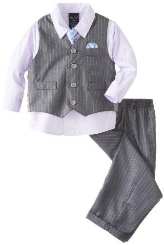Herringbone Stripe Dress Shirt (Nautica Baby Boys' Herringbone Deco Stripe Vest Set, Grey, 12 Months)