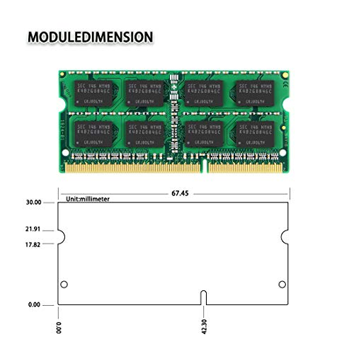 DUOMEIQI 8GB Kit (2 X 4GB) 2RX8 PC3-12800 PC3-12800S DDR3 1600MHz SODIMM CL11 204 Pin 1.5v Non ECC Unbuffered Notebook Memory Laptop RAM Modules Compatible with Intle AMD Computer