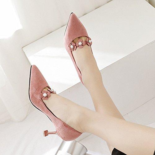 En la primavera de la versión coreana de las nuevas características bellas flores con zapatos de raso de la punta de la boquilla de luz del alto-Heel Shoes solo zapatos zapatos de mujer, Rosa 36 36.5 EU