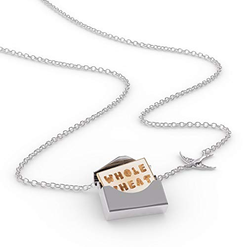 French Wheat Necklace - NEONBLOND Locket Necklace Whole Wheat French Toast Bread in a Silver Envelope