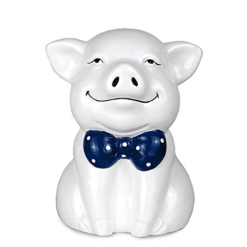 (KLVOS Ceramic Kids Piggy Bank Animals Baby Toy Banks for Nursery Room Décor - Pure White)