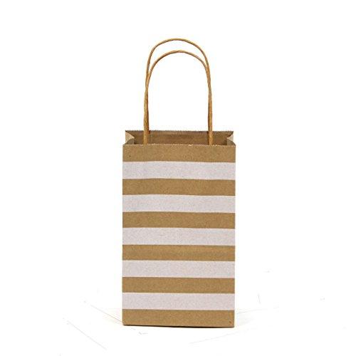 Premium Quality Natural Brown Kraft Bag, Birthday Party Gift Favor Bag Set, Biodegradable Paper (24CT, Stripe Small)