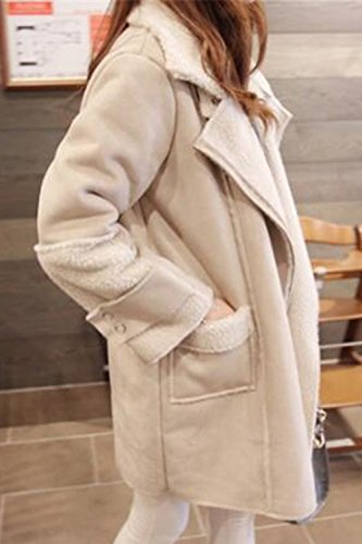 Mujer Collar Faux Outcoat Beige Warm Fur La Elegante Chaqueta Tunica Winter Oversize w7dqxA