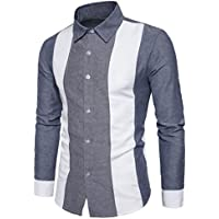 Litetao Hot Sale! Men Patchwork T-Shirt Fashion Personality Long Sleeve Top Lapel Blouse