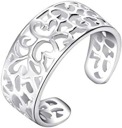 Qiaofulicheerfully Adjustable Sterling Silver Toe Rings for Women Open Rings Pinky Ring