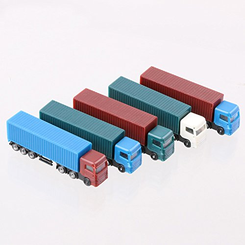 LYWS 5PCS Model Container Truck Freight Car 1:200 HO Scale Model Figure Layout