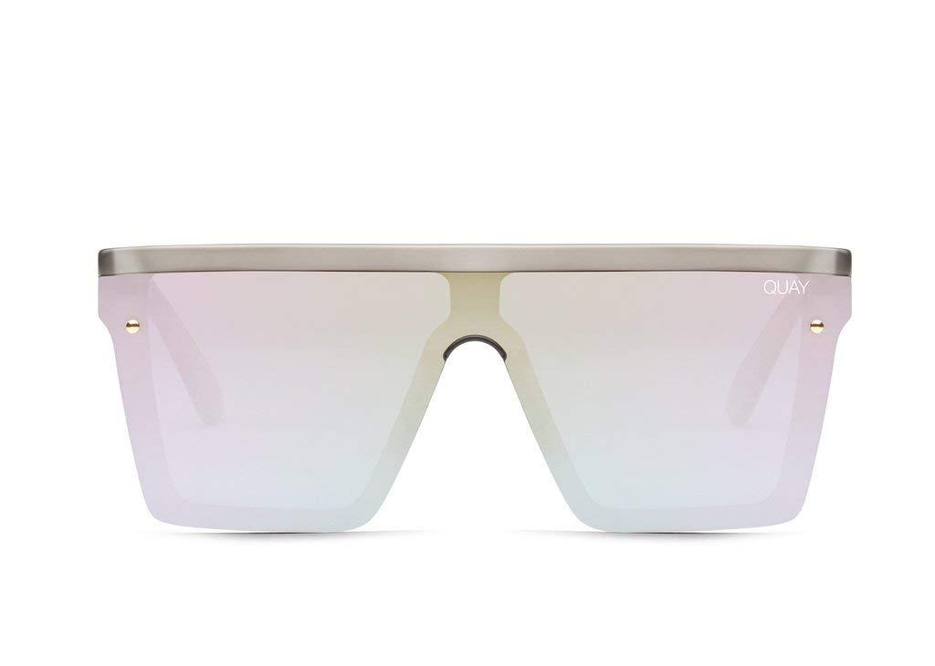 Quay Australia HINDSIGHT Women's Sunglasses Square Shield - Gold/Gold