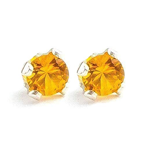 Large 6mm Yellow Orange Topaz Gemstone Post Stud Earrings in Sterling Silver - November Birthstone