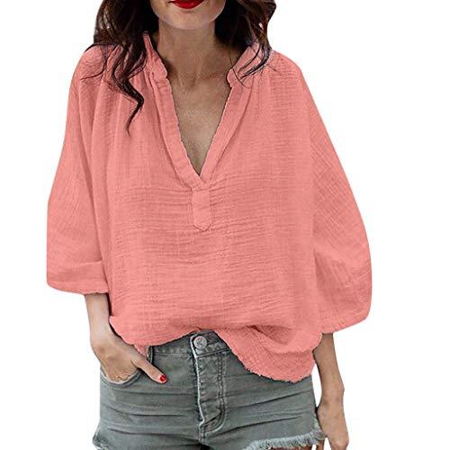 iPOGP Summer Women's Blouse Loose V-Neck Simple Summer Recreational Pure Collar Short T-Shirt Girl Fashion (Pink,S)