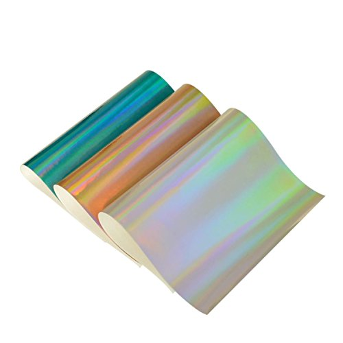 Holographic Fabric Sheets- 3 Pieces A4 Size Assorted Colors Faux Leather Fabric Cotton Back for Kids' Crafts,Doll Making, Hat Making, Hair Crafts,Shoe Making (Mix Color-3)