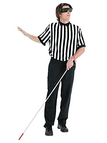 [Mens Blind Referee Costume with Shirt, Cane for the Blind & Blacked Out Glasses] (Mens Referee Costumes)