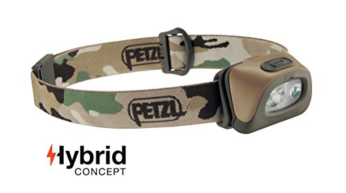 PETZL - TACTIKKA+ RGB Headlamp, 250 Lumens, Red-Green-Blue Lighting, Camo