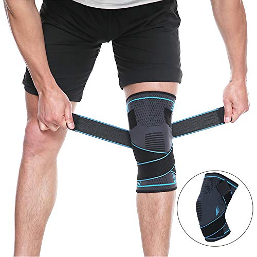DocBear Knee Brace Compression Knee Sleeve with Strap for Running, Hiking, Soccer,Basketball,Meniscus Tear,Arthritis,Best Knee Support for Men Women (X-Large 20