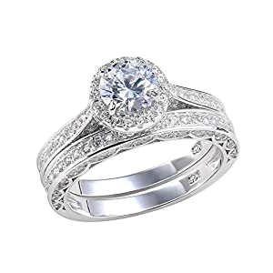 Newshe Wedding Rings for Women Engagement Ring Set 925 Sterling Silver 2.4Ct Round White AAA Cz Size 5-12