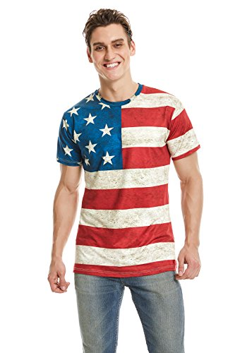 DAWILS Mens American Flag T-Shirt Patriotic Vintage Shirts Hipster Short Sleeve Hip Hop US Flag Tee Shirt