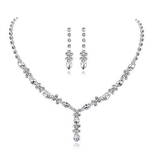 UDORA Rhinestones Necklace Earrings Jewelry Sets for Wedding Bridal Party -