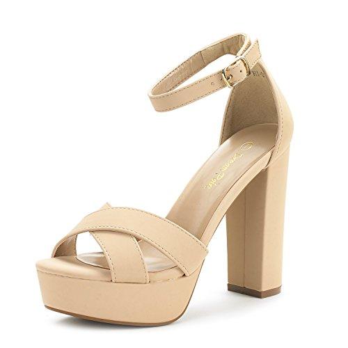 (DREAM PAIRS Women's Hi-Go Nude Nubuck High Heel Platform Pump Sandals - 9.5 M US)