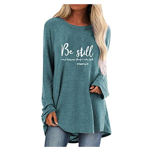 Sherostore Women's Tops Long Sleeve Print Round Neck A-line Pullover Tunic Blouse