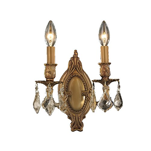 Worldwide Lighting Windsor Collection 2 Light French Gold Finish & Golden Teak Crystal Candle Wall Sconce 9