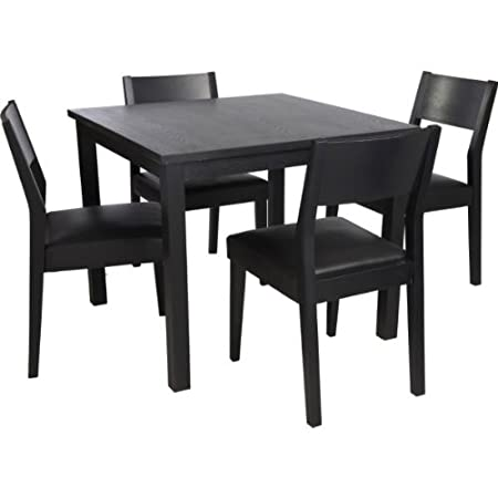 essentialz hygena black square dining table and 4 chairs with rh amazon co uk