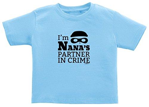 Newborn Grandma Gift I'm Nana's Partner in Crime Juvy T-Shirt 7 Light Blue