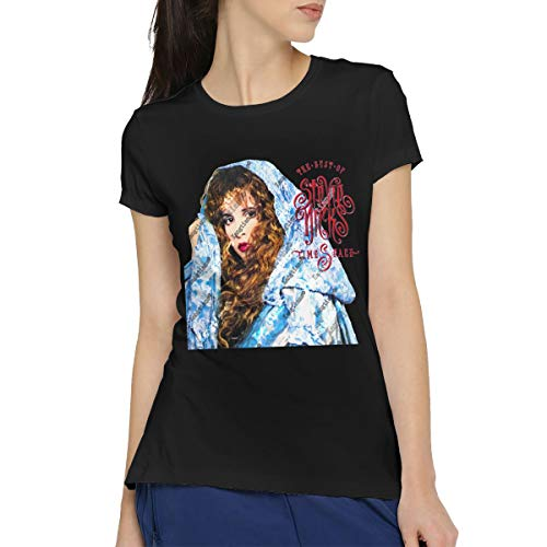 (HCULXTIBW Women's Timespace The Best of Stevie Nicks Casual Short Sleeve Funny T-Shirt Cotton Round Neck Tees Blouse Tops XL)