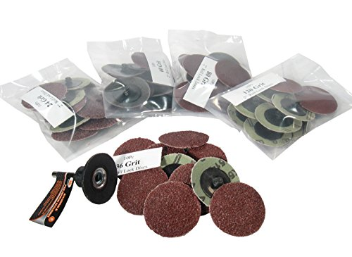 UPC 731157997553, 50-Pc 2-Inch Roll Lock Sanding Disc 24 36 60 80 120 Grit Assortment with Mandrel