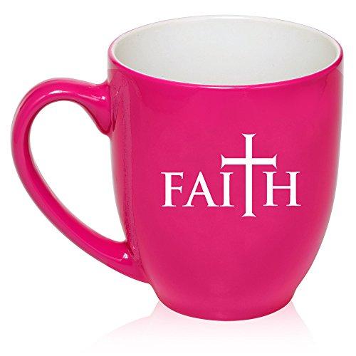 16 oz Large Bistro Mug Ceramic Coffee Tea Glass Cup Faith Cross (Hot Pink)