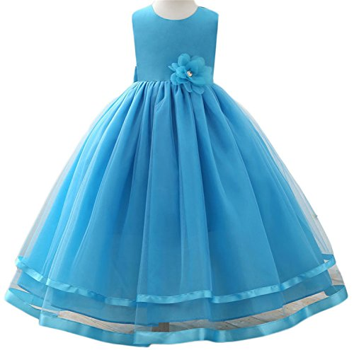 Summer Flower Girl Dress For Baby Girl Weddings Party Dress Girl Clothes Princess A-Line Ball Gown water blue - Stores In Valdosta
