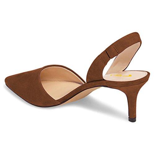 Fsj Kvinner Elegant Spiss Tå Slingback Pumper Komfortable Lave Hæler Sandaler Sko Størrelse 4-15 Oss Brun
