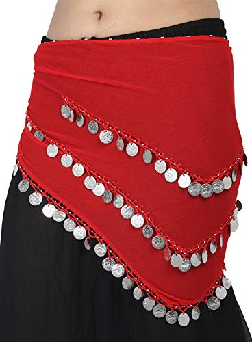 Wevez 3 Rows Belly Dance Costume Silver Coin Hip Scarf/Belly Dance Belt (Red)