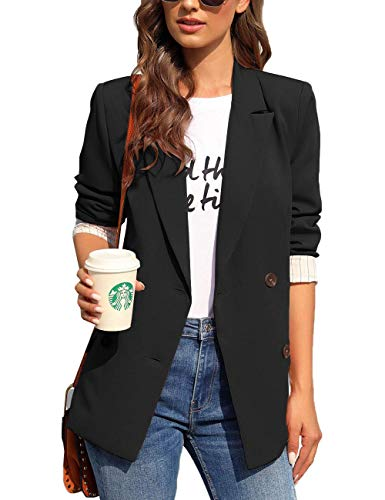 LookbookStore Womens Casual Notched Lapel Work Blazer Buttons Office Jacket Suit