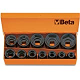 Beta 720/C12 1/2'' Square Drive Impact Socket Set, 12 pieces ranging from 10mm to 32mm in case, with Chrome Plated