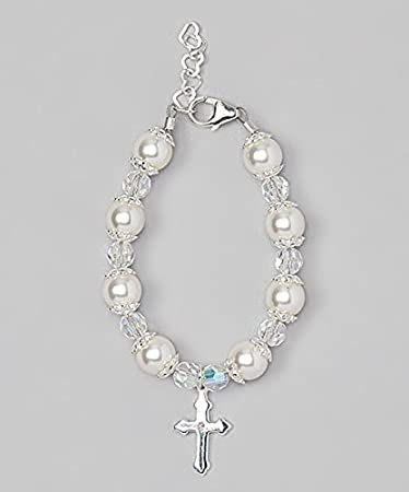 dd8e55961 Delicate Sterling Silver Cross Charm Toddler Bracelet - with White  Swarovski Simulated Pearls, Crystals and