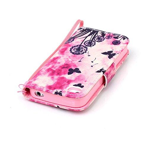 """iPhone 6 Handytasche, Felfy Ultra Slim Flip für / Apple iPhone 6/6S 4.7"""" / Leder Etui Ledertasche Schutzhülle Case / ablösbar Handliche Handy Strap schwarzer Schmetterling Design/ 1x Pink Blume Stöpse"""