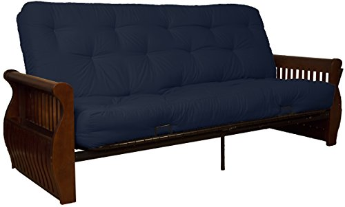 Laguna True 8-inch Loft Cotton/Foam Futon Sofa Sleeper Bed, Queen-size, Walnut Arm Finish, Twill Navy Blue Upholstery