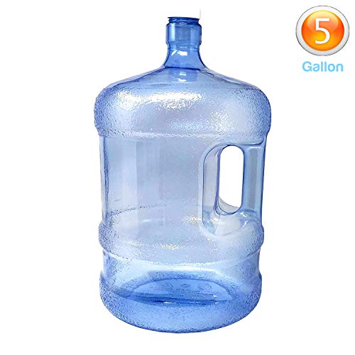LavoHome BPA-Free Reusable Plastic Water Bottle 5 Gallon Jug Container with Cap, Easy Grip Carry Handle, Sports Residential & Commercial Use, - Free Bpa Handles Bottle